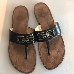 Coach patent leather flip flops